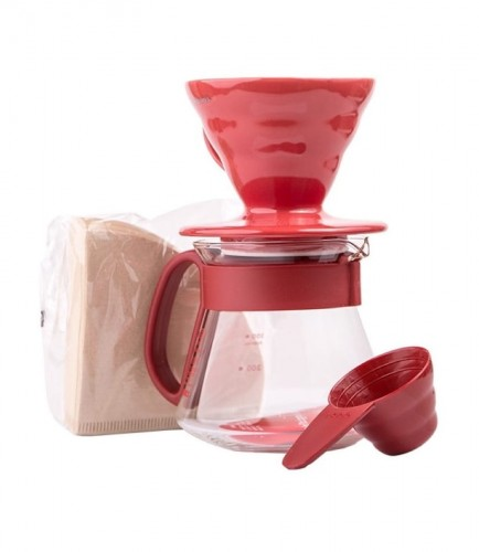 Hario zestaw v60 dripper & pot red - drip